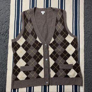 J.Crew 100% Lambs Wool Vest Cardigan L